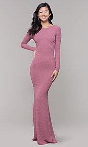 Image of long-sleeve glitter prom dress with open back. Style: SY-IDM6063VP Front Image