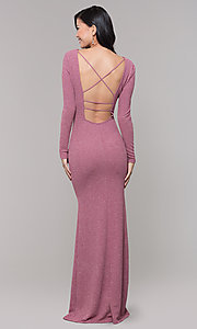 Image of long-sleeve glitter prom dress with open back. Style: SY-IDM6063VP Back Image