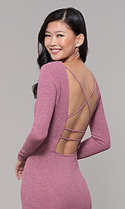 Image of long-sleeve glitter prom dress with open back. Style: SY-IDM6063VP Detail Image 2