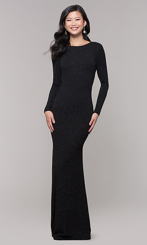 Image of long-sleeve glitter prom dress with open back. Style: SY-IDM6063VP Detail Image 4