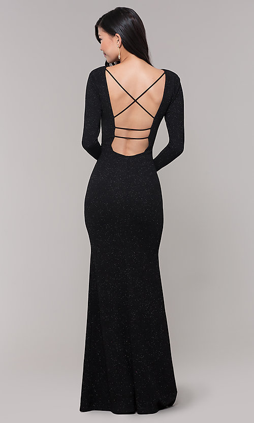 Image of long-sleeve glitter prom dress with open back. Style: SY-IDM6063VP Detail Image 5