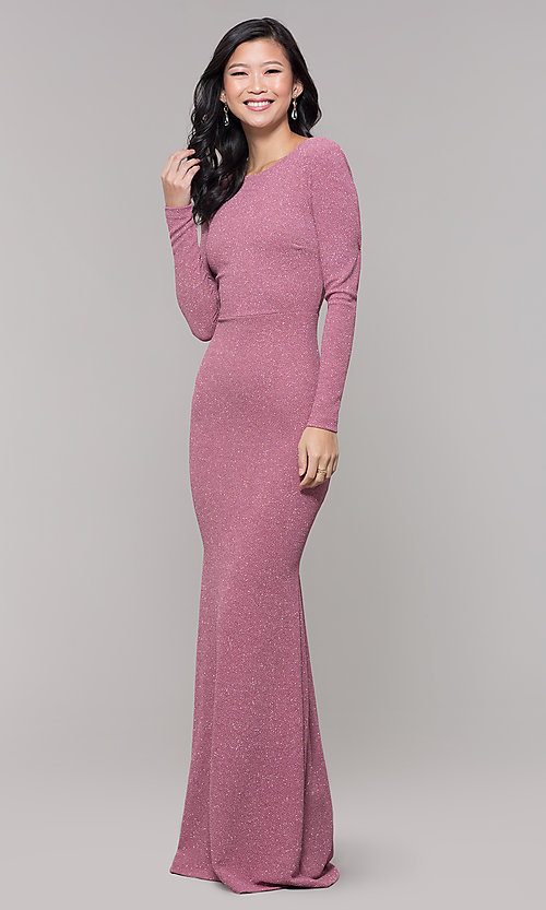 Image of long-sleeve glitter prom dress with open back. Style: SY-IDM6063VP Detail Image 3