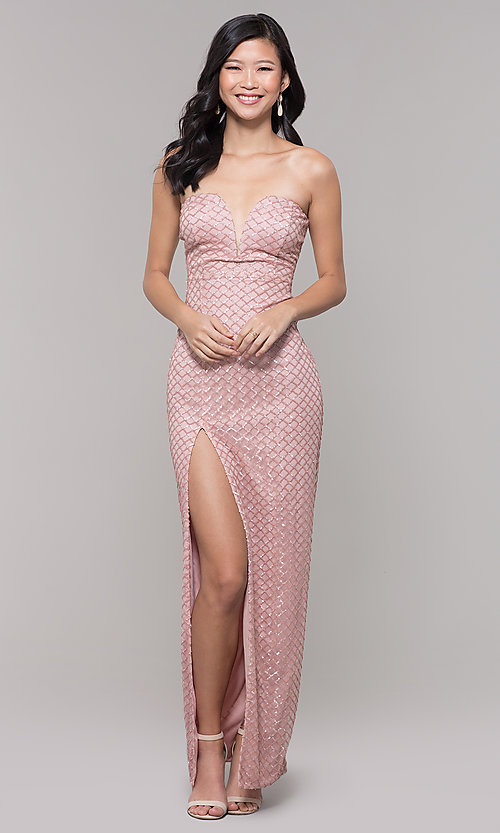 d09dad34d6e Image of strapless sweetheart mauve sequin long prom dress. Style   SY-IDM6129AP Front