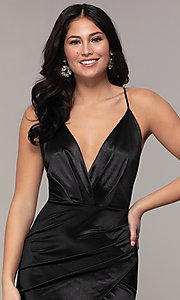 Image of long faux-wrap open-back v-neck prom dress by PromGirl. Style: SY-IDM6140AP Detail Image 6