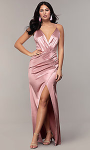 Image of long faux-wrap open-back v-neck prom dress by PromGirl. Style: SY-IDM6140AP Front Image