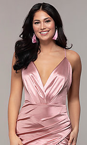 Image of long faux-wrap open-back v-neck prom dress by PromGirl. Style: SY-IDM6140AP Detail Image 1