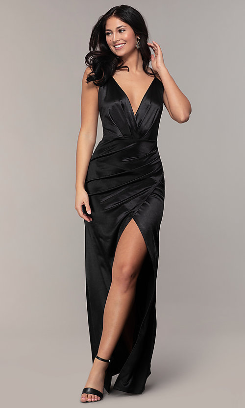 Image of long faux-wrap open-back v-neck prom dress by PromGirl. Style: SY-IDM6140AP Detail Image 4