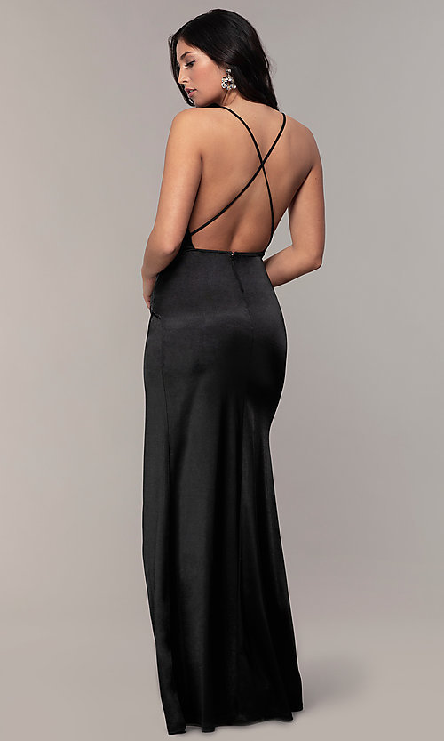 Image of long faux-wrap open-back v-neck prom dress by PromGirl. Style: SY-IDM6140AP Detail Image 5