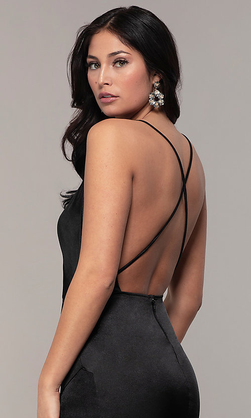 Image of long faux-wrap open-back v-neck prom dress by PromGirl. Style: SY-IDM6140AP Detail Image 7