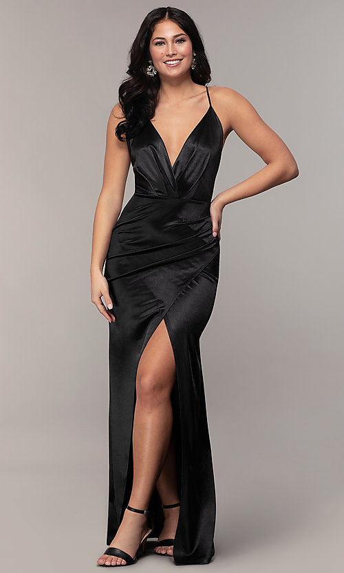 Image of long faux-wrap open-back v-neck prom dress by PromGirl. Style: SY-IDM6140AP Detail Image 8