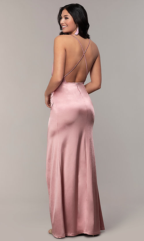 Image of long faux-wrap open-back v-neck prom dress by PromGirl. Style: SY-IDM6140AP Back Image