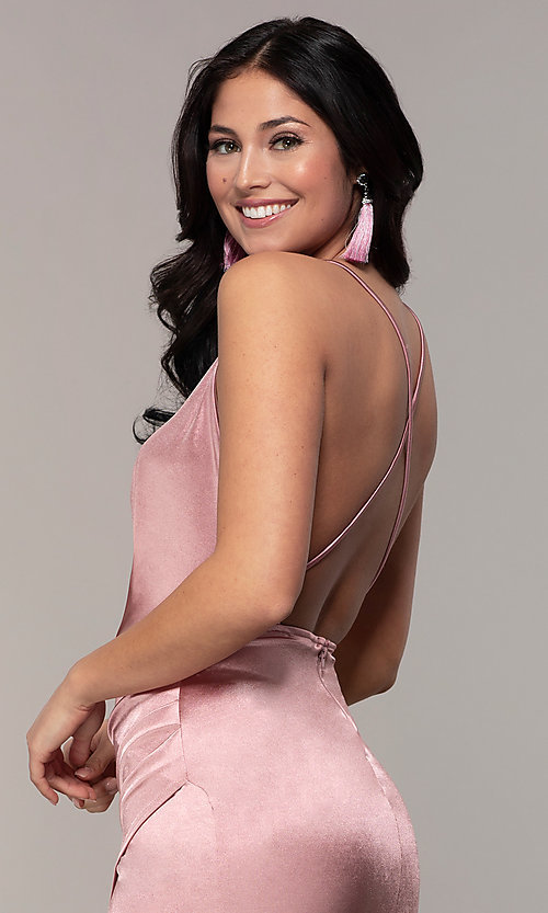 Image of long faux-wrap open-back v-neck prom dress by PromGirl. Style: SY-IDM6140AP Detail Image 2