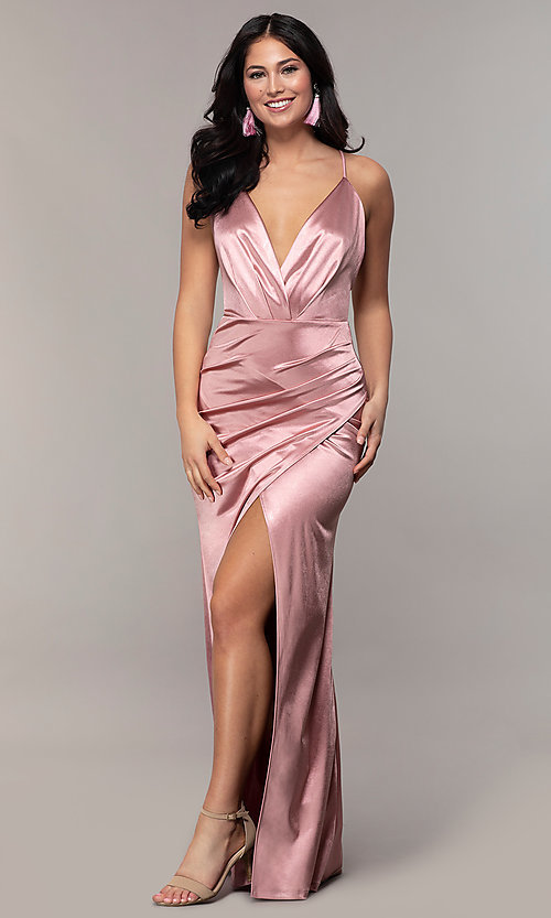 Image of long faux-wrap open-back v-neck prom dress by PromGirl. Style: SY-IDM6140AP Detail Image 3