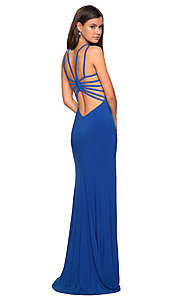 Image of caged-open-back designer prom dress by La Femme. Style: LF-27072 Detail Image 4