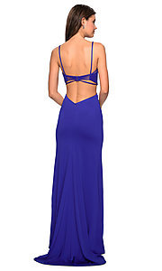 Image of La Femme formal prom dress with open-back cut out. Style: LF-27516 Detail Image 1