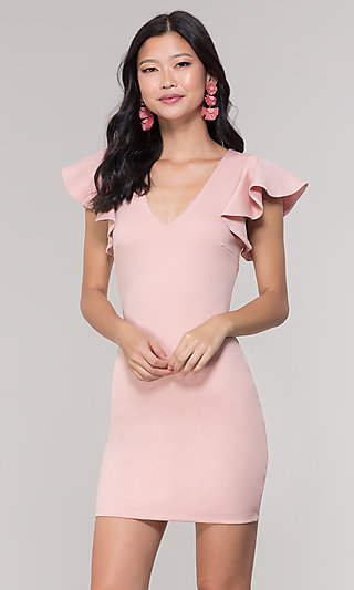 Short V-Neck Blush Pink Party Dress