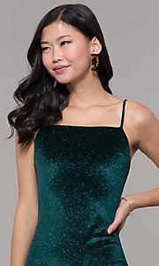Image of short holiday party green glitter velvet dress. Style: JTM-JD10411 Detail Image 1