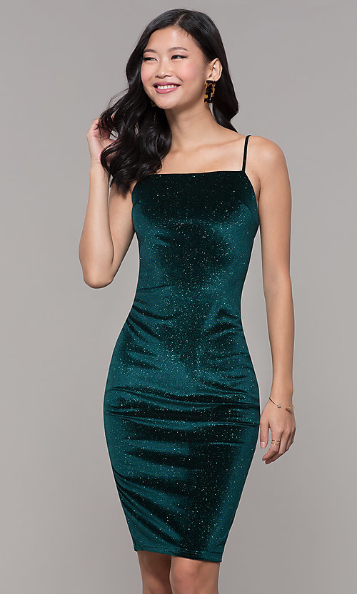 Image of short holiday party green glitter velvet dress. Style: JTM-JD10411 Front Image