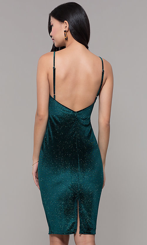 Image of short holiday party green glitter velvet dress. Style: JTM-JD10411 Back Image