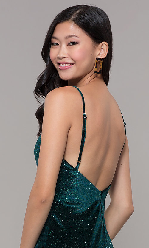 Image of short holiday party green glitter velvet dress. Style: JTM-JD10411 Detail Image 2