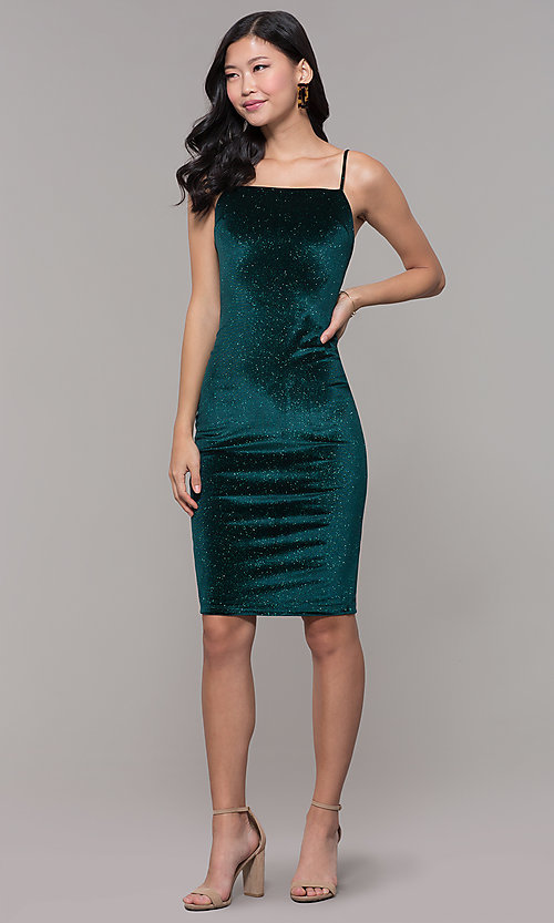 Image of short holiday party green glitter velvet dress. Style: JTM-JD10411 Detail Image 3