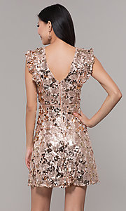 Image of high-neck short sequin rose gold holiday dress. Style: VJ-LD42668 Back Image
