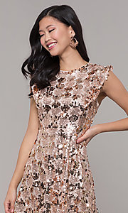 Image of high-neck short sequin rose gold holiday dress. Style: VJ-LD42668 Detail Image 1