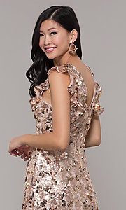 Image of high-neck short sequin rose gold holiday dress. Style: VJ-LD42668 Detail Image 2