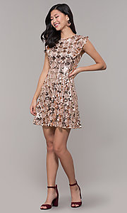 Image of high-neck short sequin rose gold holiday dress. Style: VJ-LD42668 Detail Image 3