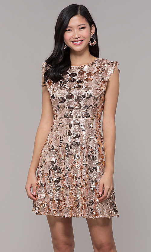 Image of high-neck short sequin rose gold holiday dress. Style: VJ-LD42668 Front Image