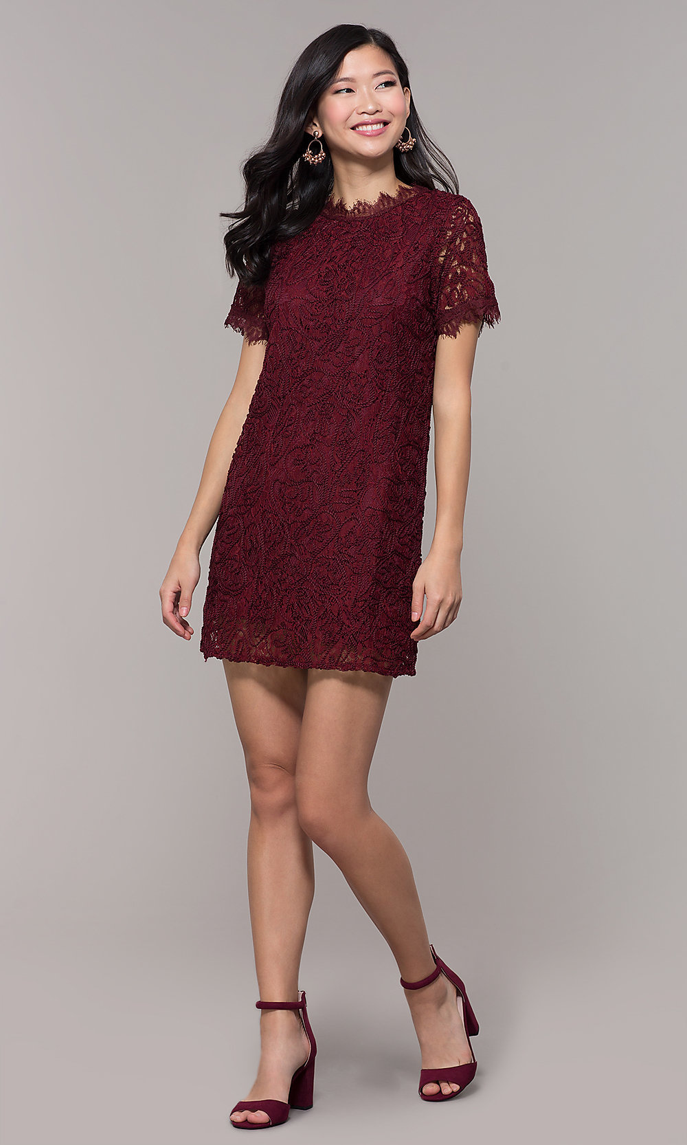 Lace High-Neck Wine Red Wedding-Guest Dress