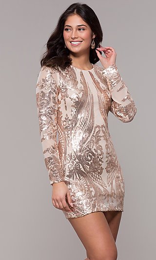 Long Sleeve Short Sequin Mesh Party Dress