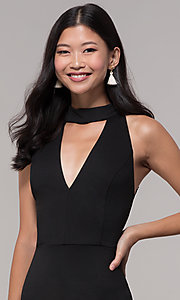 Image of choker-collar black party dress with lace open back. Style: AC-DH24319E Detail Image 1