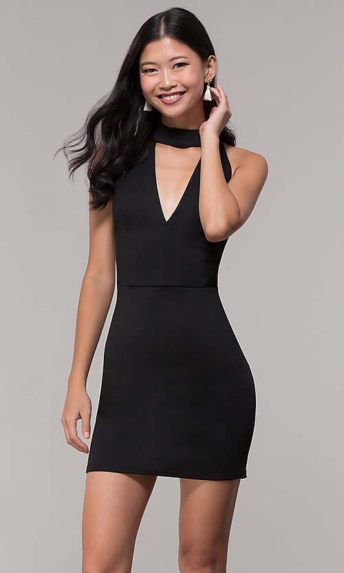 Image of choker-collar black party dress with lace open back. Style: AC-DH24319E Front Image