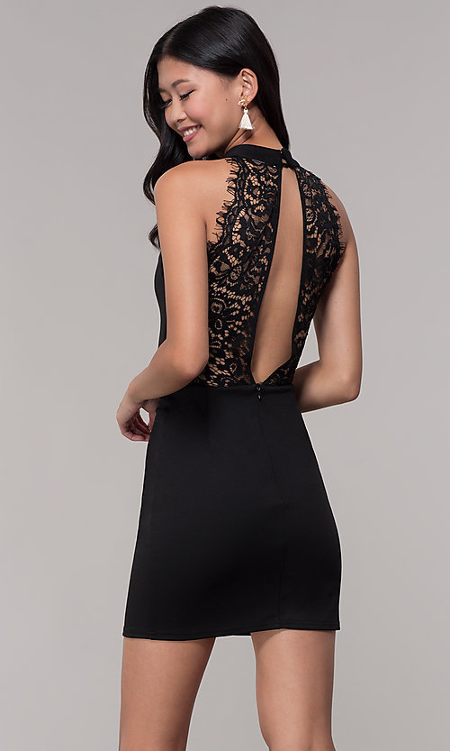 Image of choker-collar black party dress with lace open back. Style: AC-DH24319E Back Image