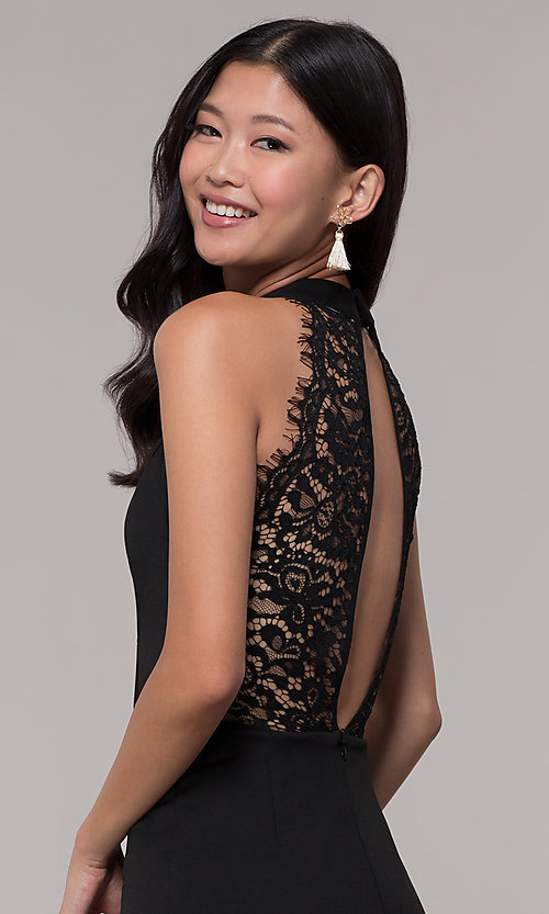 Image of choker-collar black party dress with lace open back. Style: AC-DH24319E Detail Image 2