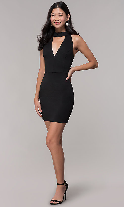 Image of choker-collar black party dress with lace open back. Style: AC-DH24319E Detail Image 3