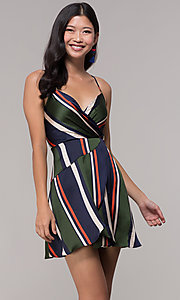 Image of faux-wrap short navy and green striped party dress. Style: AC-DH24571R01 Front Image