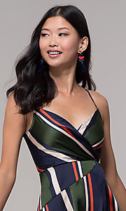 Image of faux-wrap short navy and green striped party dress. Style: AC-DH24571R01 Detail Image 1