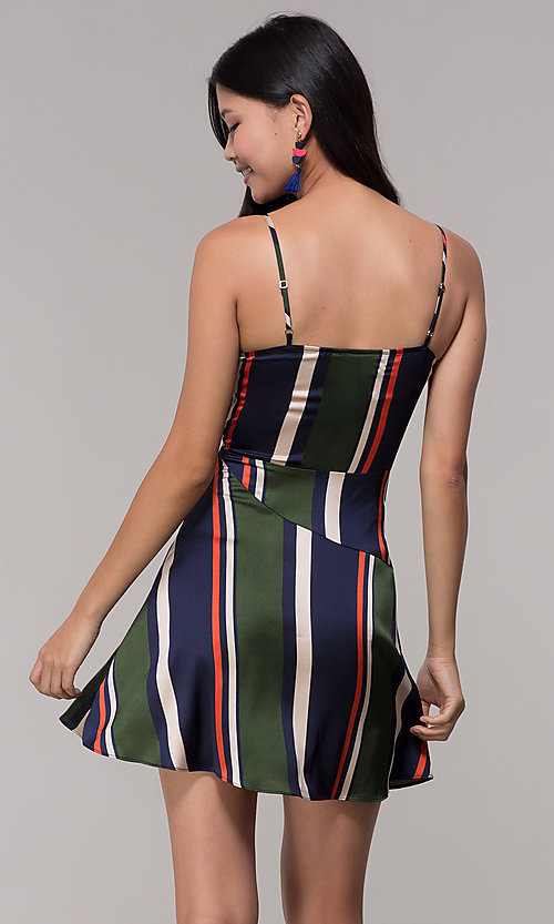 Image of faux-wrap short navy and green striped party dress. Style: AC-DH24571R01 Back Image
