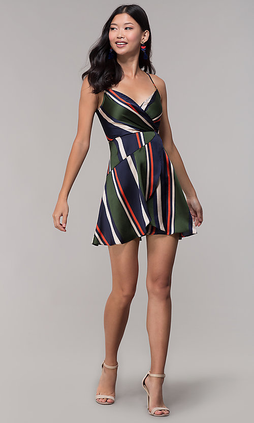 Image of faux-wrap short navy and green striped party dress. Style: AC-DH24571R01 Detail Image 3