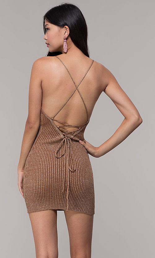 Image of gold short rib-knit v-neck holiday party dress. Style: AC-DS24615B Back Image