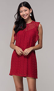 Image of short burgundy red lace wedding-guest party dress. Style: AC-EDH15830WS Front Image