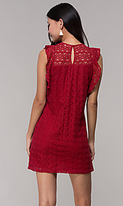 Image of short burgundy red lace wedding-guest party dress. Style: AC-EDH15830WS Back Image