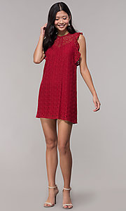 Image of short burgundy red lace wedding-guest party dress. Style: AC-EDH15830WS Detail Image 3