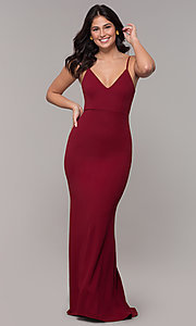 Image of cut-out-back long v-neck simple prom dress. Style: MT-9340 Detail Image 6