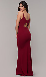 Image of cut-out-back long v-neck simple prom dress. Style: MT-9340 Detail Image 7