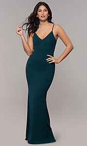 Image of cut-out-back long v-neck simple prom dress. Style: MT-9340 Front Image