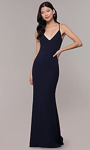Image of cut-out-back long v-neck simple prom dress. Style: MT-9340 Detail Image 2