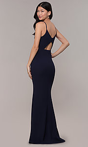 Image of cut-out-back long v-neck simple prom dress. Style: MT-9340 Detail Image 3